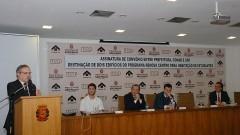 Sylvain Itté, Henrique Pecora, João Grandino Rodas, Gilberto Kassab e Ricardo Leite. Foto: Francisco Emolo/ Jornal da USP