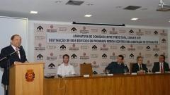 João Grandino Rodas, Henrique Pecora, Gilberto Kassab, Sylvain Itté e Ricardo Leite. Foto: Francisco Emolo/ Jornal da USP