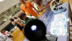 Detalhe de visor de microscópio durante oficina no Ciclo Multidisciplinar 1 (na Faculdade de Arquitetura e Urbanismo) durante a Virada Científica 2015 (segunda edição) realizada dias 17 e 18 de outubro. Foto: Marcos Santos/USP Imagens
