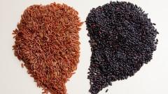 Grãos de arroz integral vermelho e preto