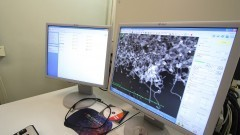 Detalhe de imagem ampliada em monitor do Laboratório de Sistemas Integráveis (LSI) da Escola Politécnica (EP). O LSI desenvolve pesquisas nas áreas de Saúde Digital, Sistemas de Visualização Interativa, Tecnologias Assistivas e de Reabilitação, Tecnologias para a Educação, Sistemas Computacionais Integrados, TV Digital, Microeletrônica e Microfabricação, entre outros. Foto: Marcos Santos/USP Imagens